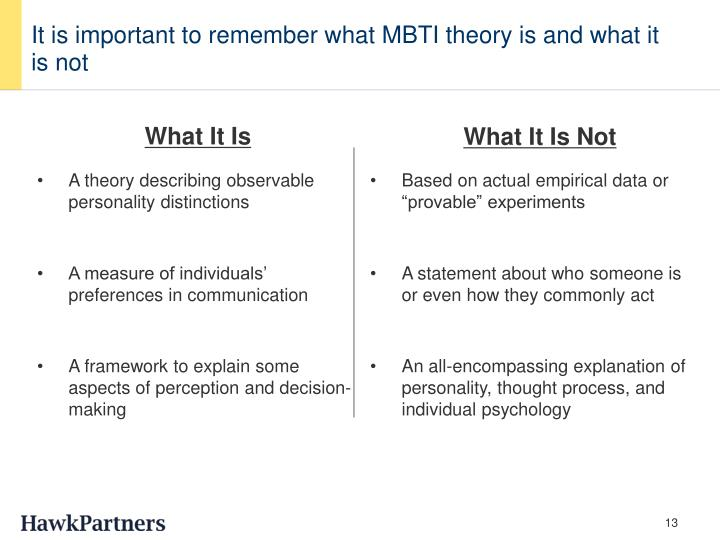 It is important to remember what MBTI theory is and what it is not