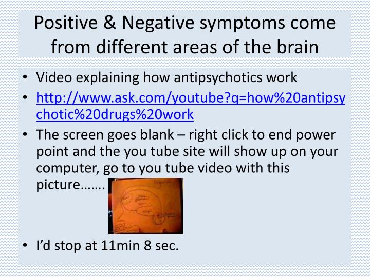 Positive & Negative symptoms come from different areas of the brain