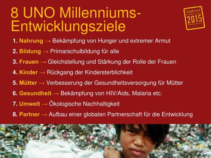 8 UNO Millenniums-Entwicklungsziele