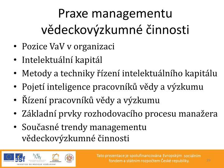 Praxe managementu