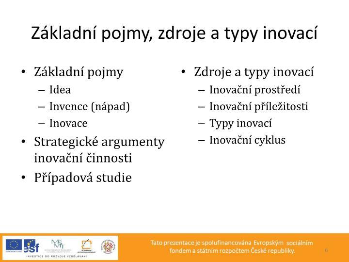 Základní pojmy, zdroje a typy inovací