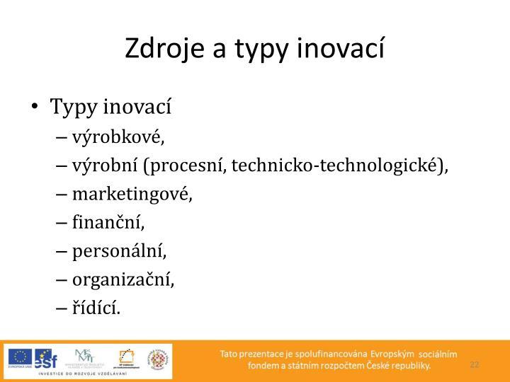 Zdroje a typy inovací