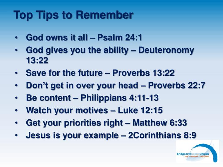 Top Tips to Remember
