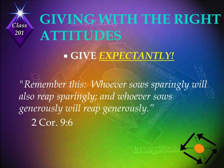 GIVING WITH THE RIGHT ATTITUDES