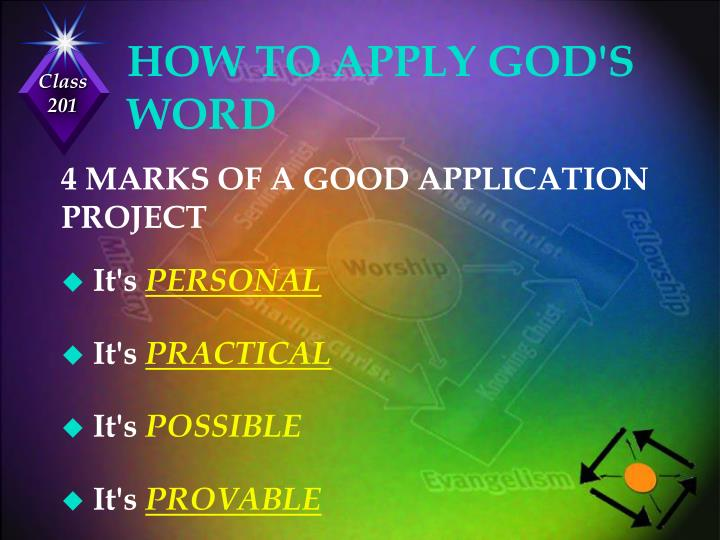 HOW TO APPLY GOD'S WORD