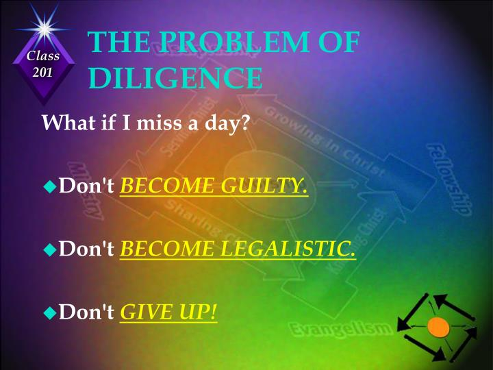 THE PROBLEM OF DILIGENCE