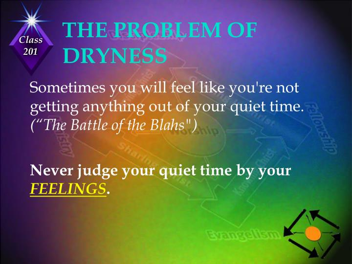 THE PROBLEM OF DRYNESS