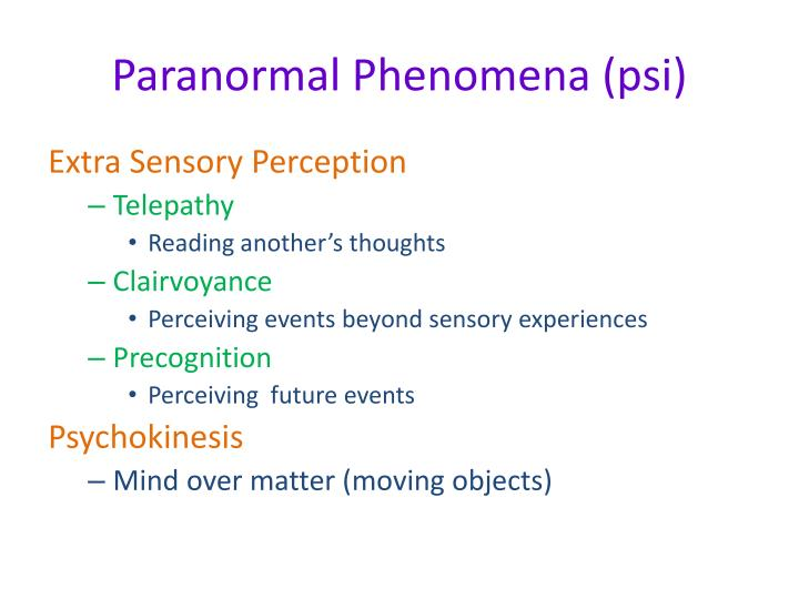 Paranormal Phenomena (psi)