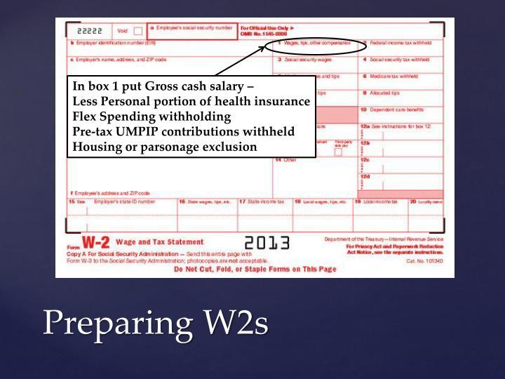 In box 1 put Gross cash salary –