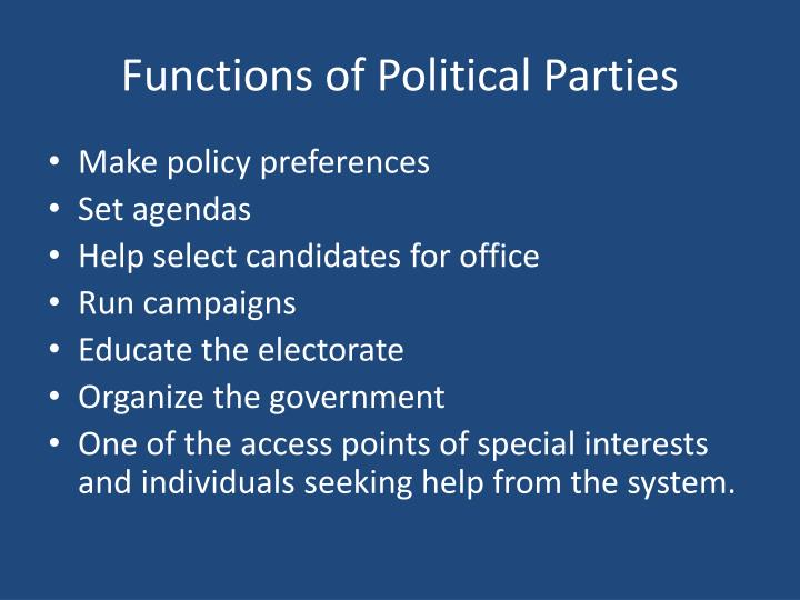 Functions of Political Parties