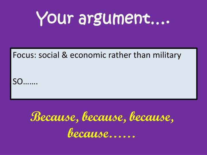 Your argument….