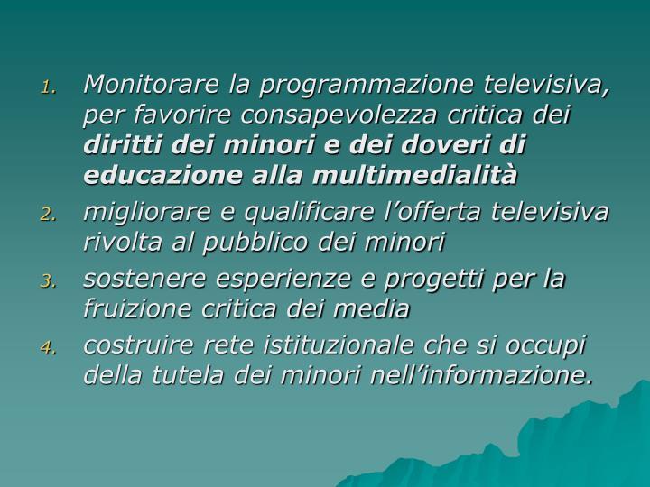 Monitorare la programmazione televisiva, per favorire consapevolezza critica dei