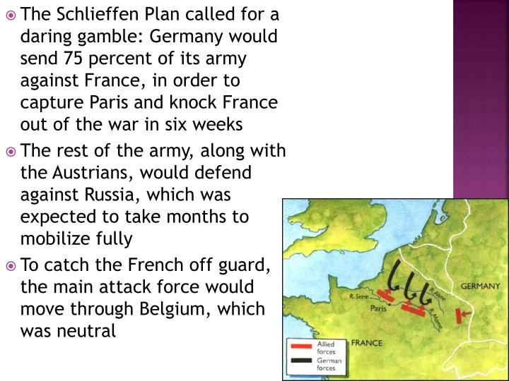 The Schlieffen Plan called for a daring gamble: Germany would send 75 percent of its army against France, in order to capture Paris and knock France out of the war in six weeks