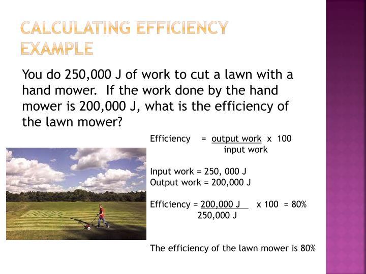 Calculating Efficiency Example
