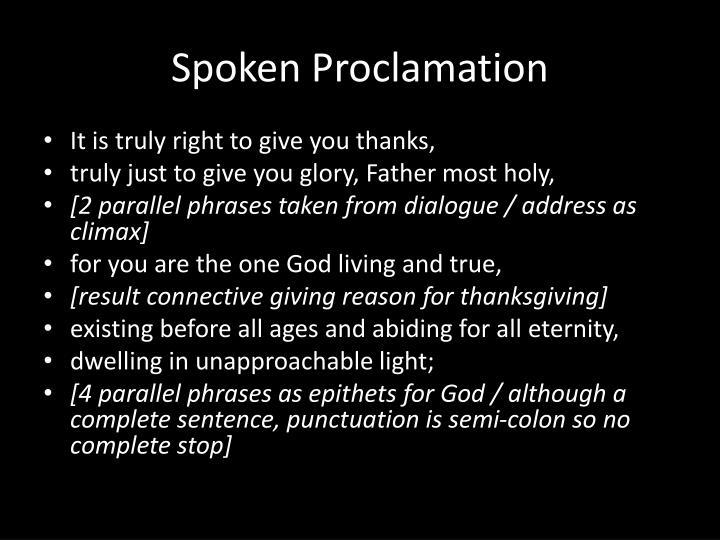 Spoken Proclamation