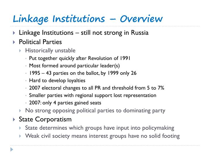 Linkage Institutions – Overview