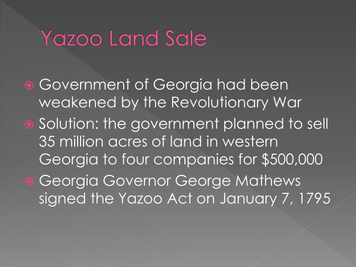 Yazoo Land Sale