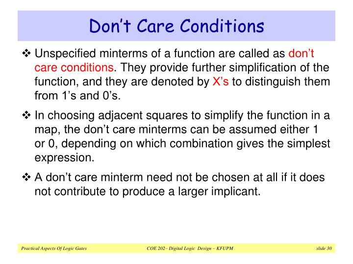 Don't Care Conditions