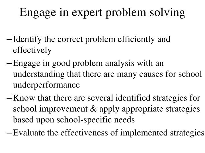 Engage in expert problem solving