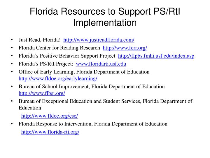 Florida Resources to Support PS/RtI Implementation