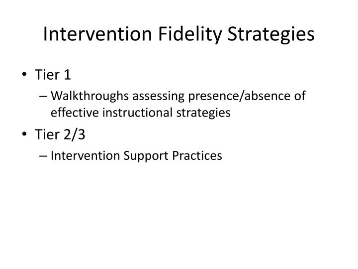 Intervention Fidelity Strategies
