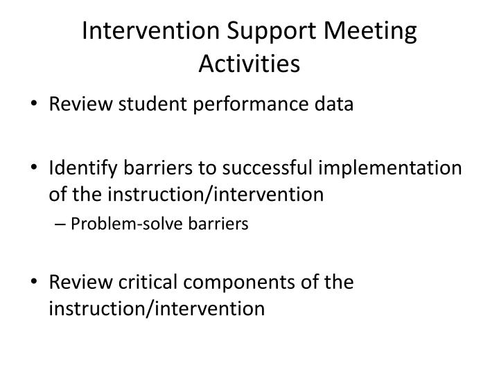 Intervention Support Meeting Activities