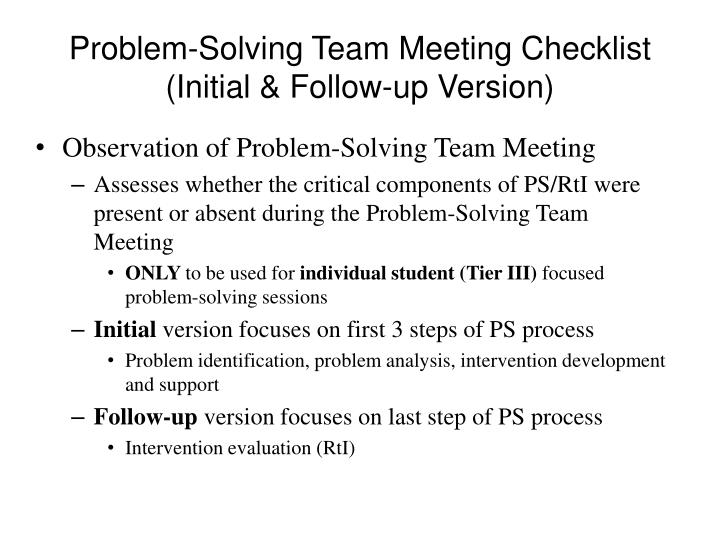Problem-Solving Team Meeting Checklist (Initial & Follow-up Version)