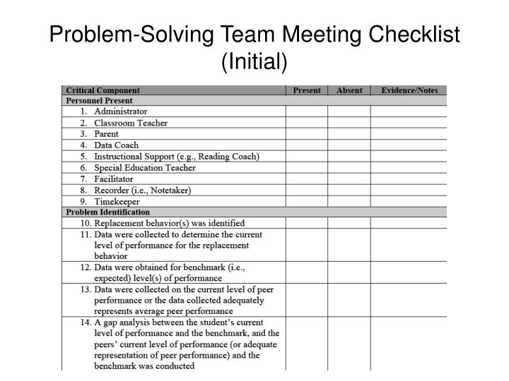 Problem-Solving Team Meeting Checklist (Initial)