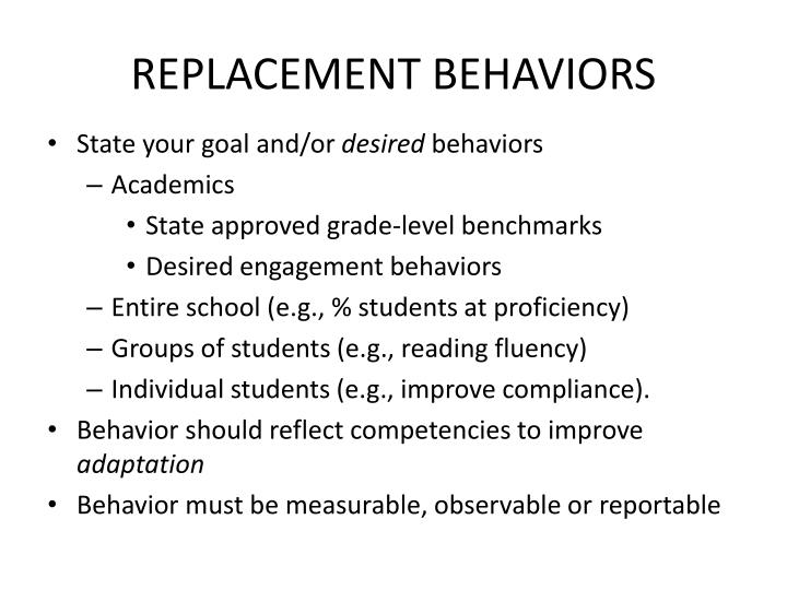 REPLACEMENT BEHAVIORS