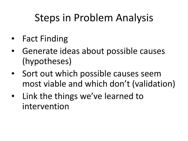 Steps in Problem Analysis