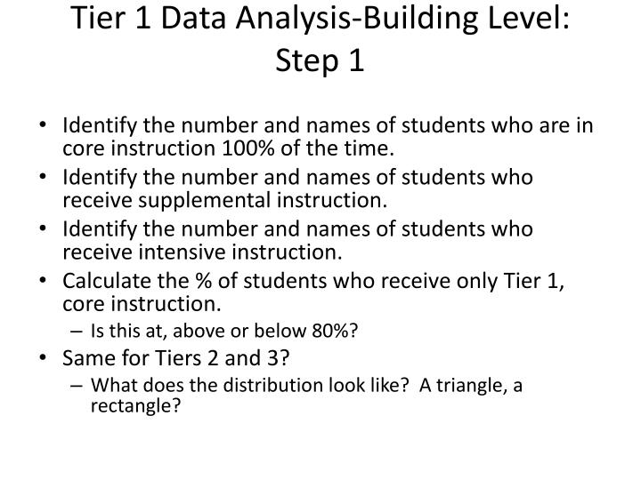 Tier 1 Data Analysis-Building Level: