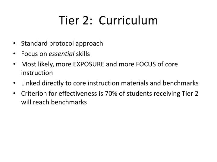 Tier 2:  Curriculum