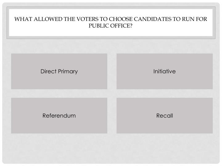 What allowed the voters to choose candidates to run for public office?