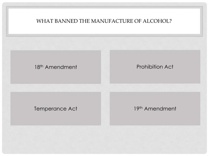 What banned the manufacture of alcohol?