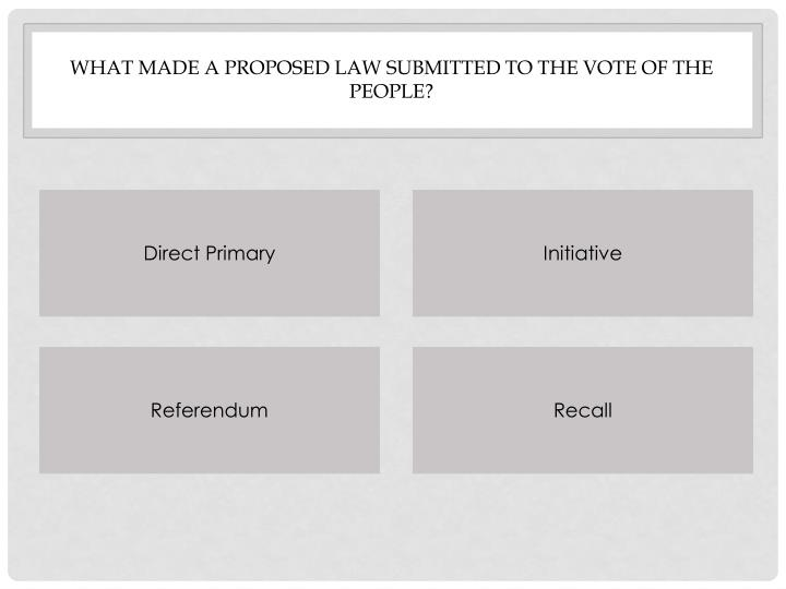 What made a proposed law submitted to the vote of the people?