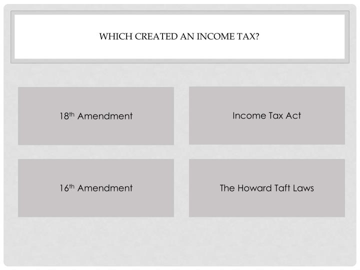 Which created an income tax?