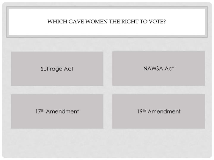 Which gave women the right to vote?