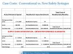 case costs conventional vs new safety syringes