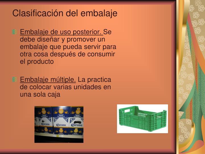 Clasificación del embalaje