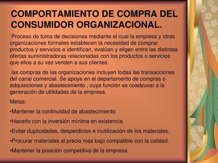 COMPORTAMIENTO DE COMPRA DEL CONSUMIDOR ORGANIZACIONAL.