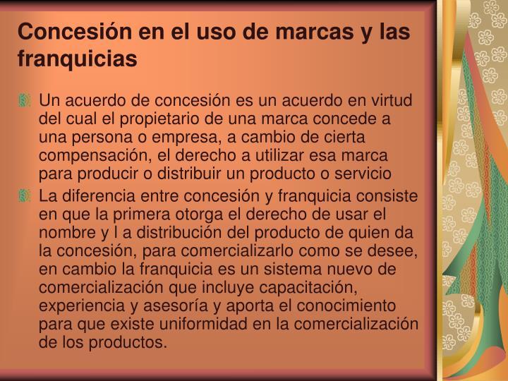Concesión en el uso de marcas y las franquicias