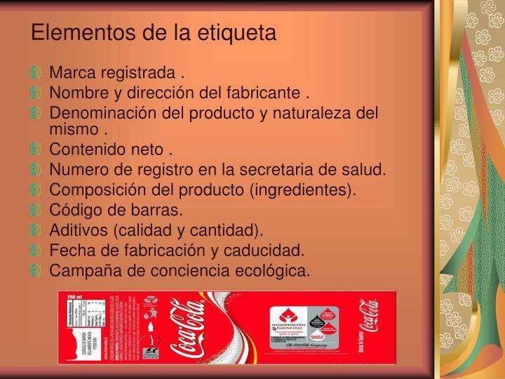 Elementos de la etiqueta
