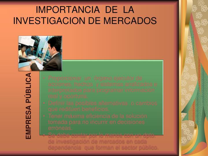 IMPORTANCIA  DE  LA  INVESTIGACION DE MERCADOS