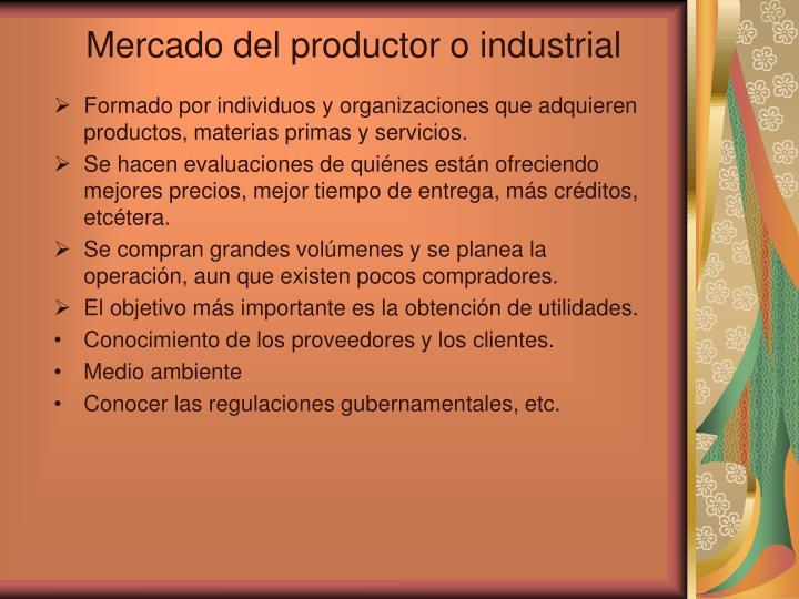 Mercado del productor o industrial