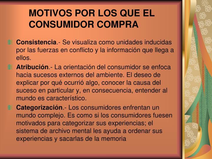 MOTIVOS POR LOS QUE EL CONSUMIDOR COMPRA