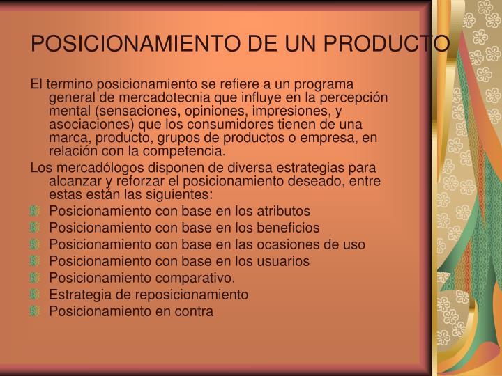 POSICIONAMIENTO DE UN PRODUCTO