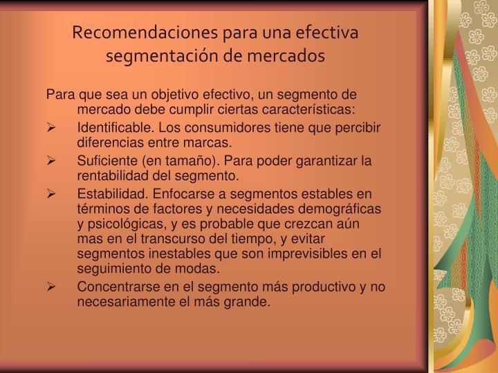 Recomendaciones para una efectiva segmentación de mercados