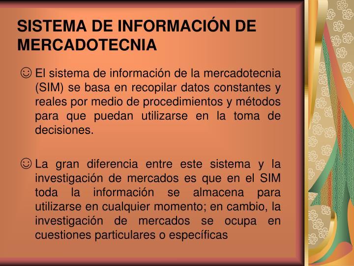 SISTEMA DE INFORMACIÓN DE MERCADOTECNIA