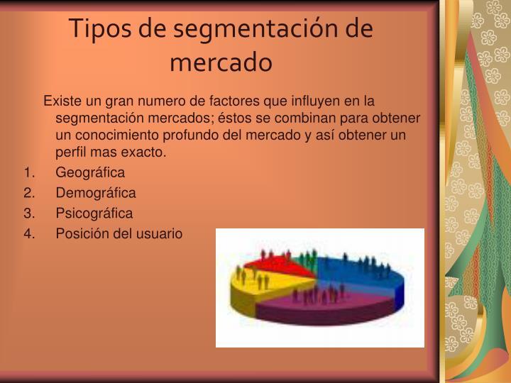 Tipos de segmentación de  mercado