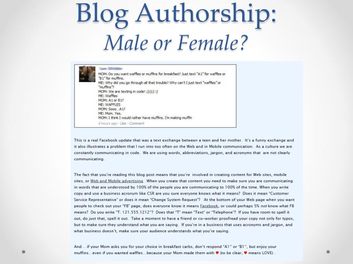 Blog Authorship: